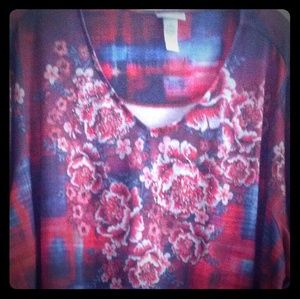 Catherines Plaid & Floral Tunic Top
